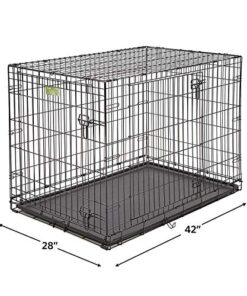iCrate Dog Crate Starter Kit | 42-Inch Dog Crate Kit Ideal for Large Dog Breeds (weighing 71 – 90 Pounds) || Includes Dog Crate, Pet Bed, 2 Dog Bowls & Dog Crate Cover