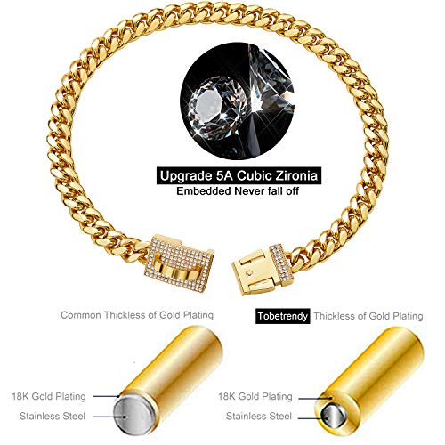 ToBeTrendy Gold Dog Chain Collar with Design Secure Buckle Bling CZ Diamonds 18K Miami Cuban Link Chain 10MM Heavy Duty Chew Proof Walking Metal Chain Collar Necklace(for Small Dog Neck 10″)