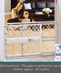 North States MyPet Paws 40″ Portable Pet Gate: Expands & locks In place with no tools. Pressure Mount. Fits 26″- 40″ wide (23″ tall, Light Gray)