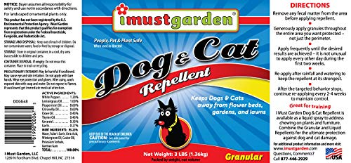 I Must Garden Dog & Cat Repellent – 3lb Granular – Natural & Pet Safe