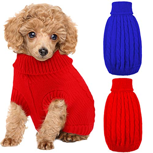 Weewooday 2 Pieces Dog Sweaters Knitted Turtleneck Dog Sweater Classic Cable Knit Winter Coat Pet Cat Sweater Dog Sweatshirt Pullover Puppy Cat Knit Sweater for Small Dogs (Large, Red, Dark Blue)