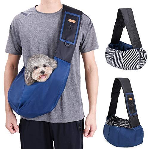 DogLemi Small Dog Cat Carrier Sling Bag Hands Free Pet Puppy Outdoor Travel Bag Adjustable Strap Padded Shoulder Sling Travel Tote Bag (Blue)