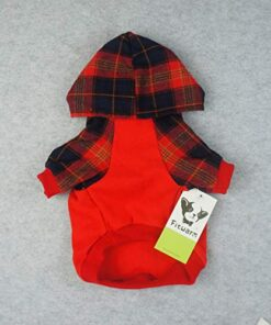 Fitwarm Plaid Pet Clothes for Dog Sweatshirts Cat Pullover Hooded Shirts Red Small