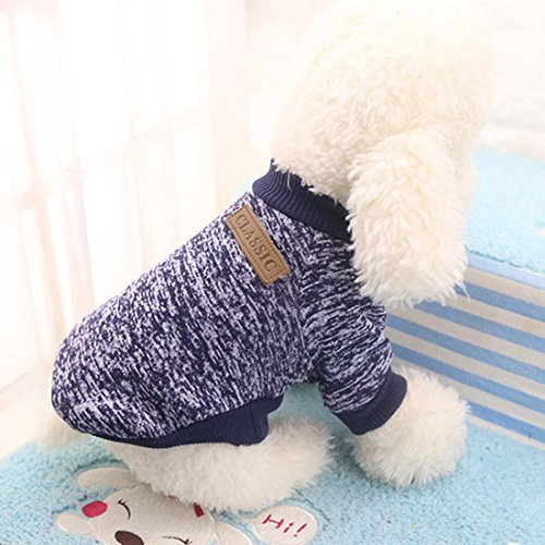 Idepet Pet Dog Classic Knitwear Sweater,Fleece Coat for Small,Medium,Large Dog,Warm Pet Dog Cat Clothes,Soft Puppy Customes 2 Color (S, Navy)