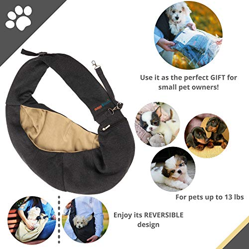 BUDDY TASTIC Pet Sling Carrier – Reversible and Hands-Free Dog Bag with Adjustable Strap and Pocket – Soft Puppy Sling for Pets up to 13 lbs (Black/Beige)