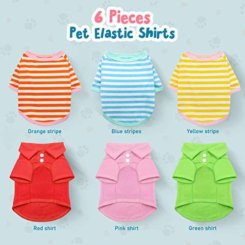 HYLYUN Small Dog Shirt 6 Pieces – Pet Puppy T-Shirt Cotton Polo Dog Shirt Breathable Striped Pet ApparelColorful Puppy Sweatshirt Dog Clothes for Small to Medium Dogs Puppy M