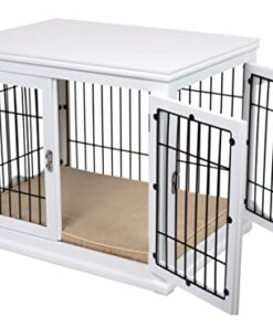 Internet's Best Decorative Dog Kennel with Pet Bed – Small Dog – Double Door – Wooden Wire Dog House – Indoor Pet Crate Side Table – White