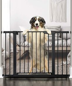 "Cumbor 46""Auto Close Safety Baby Gate, Extra Tall and Wide Child Gate, Easy Walk Thru Durability Dog Gate for The House, Stairs, Doorways. Includes 4 Wall Cups, 2.75-Inch and 8.25-Inch Extension"