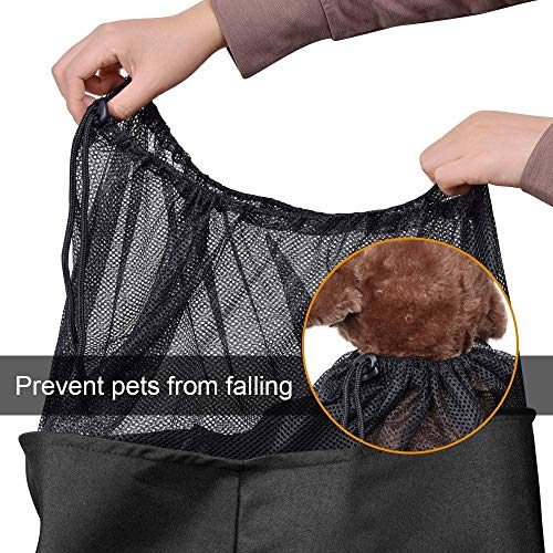 AOFOOK Dog Cat Sling Carrier, Adjustable Padded Shoulder Strap, with Zipper Pocket for Outdoor Travel (Black)