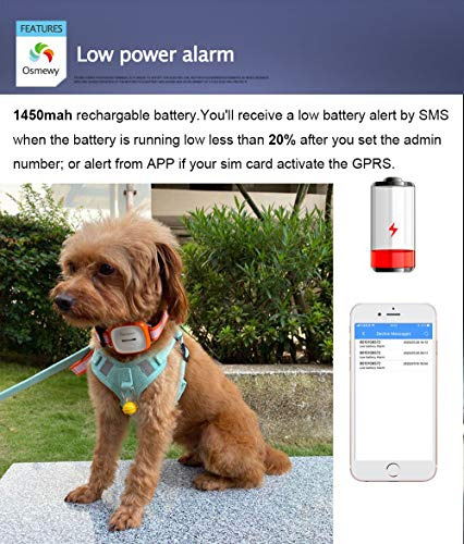 Osmewy Pet Tracker Dog GPS Tracker for Dogs Bigger Cats Hounds Tracking Device with Collar Light Search Geo Fence Anti-Lost Waterproof GPS Locator Real Time Alarm Free APP 1450mAh 2G GT011 Blue