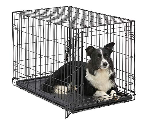 Dog Crate | MidWest ICrate 36 Inch Folding Metal Dog Crate w/ Divider Panel|Intermediate Dog Breed, Black