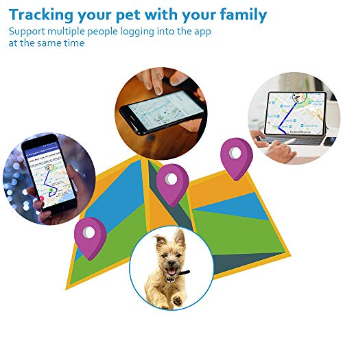 BARTUN LTE GPS Dog Tracker, Real-Time Tracking Collar Device, APP Control for Dogs and Cats with Unlimited Range (White)