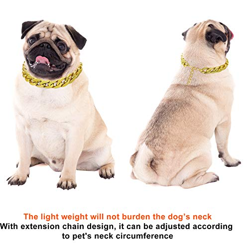 2 Pieces Dog Link Chain Gold Necklace Chain for Dogs ABS Plastic Dog Gold Collar Chain Puppy Costume for Dogs