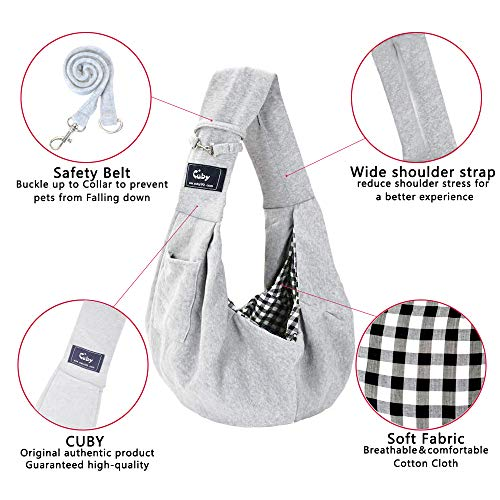 Cuby Dog and Cat Sling Carrier – Hands Free Reversible Pet Papoose Bag — Soft Pouch and Tote Design – Suitable for Puppy, Small Dogs, and Cats for Outdoor Travel (Classic Grey)