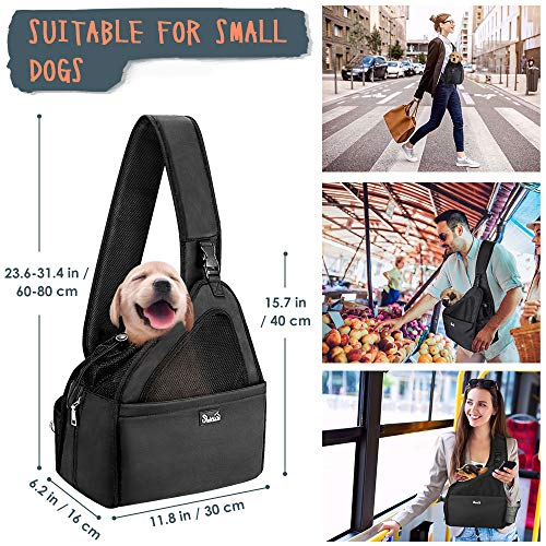 SlowTon Pet Dog Sling Carrier, Hands Free Papoose Small Animal Puppy Travel Bag Tote Breathable Mesh Hard Bottom Support Adjustable Padded Strap Front Pocket Safety Belt Machine Washable