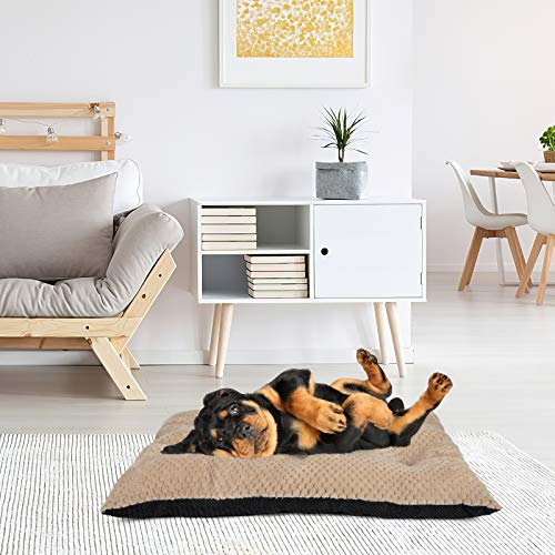 GASUR Large Dog Bed Crate Pad Mat Ultra Soft 24″/30″/36″/42″ Washable Large Medium Small Pet Beds Cat Beds Mattress Kennel Pads (L, Beige Brown)