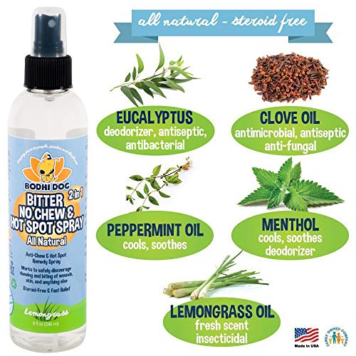 Bodhi Dog New Bitter 2 in 1 No Chew & Hot Spot Spray   All Natural Anti-Chew Remedy   Safe for Skin, Wounds, Anything Else   Made in USA   8oz