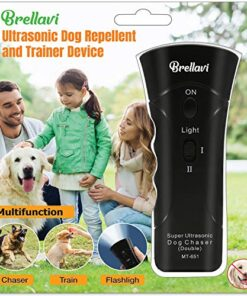 Ultrasonic Anti-Bark Dog Training Equipment and Barking Control Device, Electronic Clicker Trainer for Walking, Jogging, and Aggressive Behavior, Handheld and Portable, Black