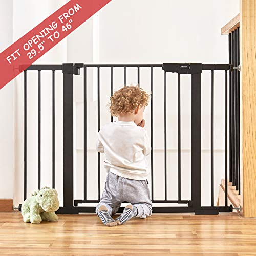 """Cumbor 46""""Auto Close Safety Baby Gate, Extra Tall and Wide Child Gate, Easy Walk Thru Durability Dog Gate for The House, Stairs, Doorways. Includes 4 Wall Cups, 2.75-Inch and 8.25-Inch Extension"""
