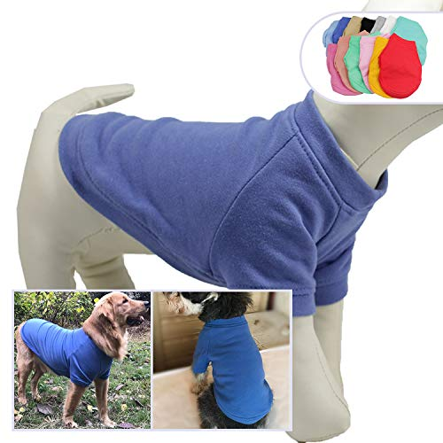 Lovelonglong 2019 Dog Pullover Sweatshirt Autumn Winter Cold Weather Dog T-Shirts for Small Medium Large Size Dogs Miniature Schnauzer Shih Tzu Clothes Blue L