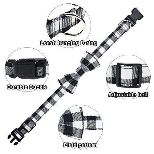 Malier 2 Pack Dog Collar with Bow tie, Christmas Classic Plaid Dog Collar with Light Adjustable Buckle Suitable for Small Medium Large Dogs Cats Pets (Small)