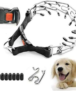 Supet Dog Prong Collar, Dog Choke Pinch Training Collar with Quick Release Snap Buckle for Small Medium Large Dogs(Packed with One Extra Links)