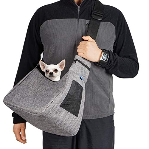 COOLBEBE Adjustable Pet Dog Sling Carrier for Small Dogs Cat up to 10lbs, Hands-Free Pet Puppy Travel Bag – Grey
