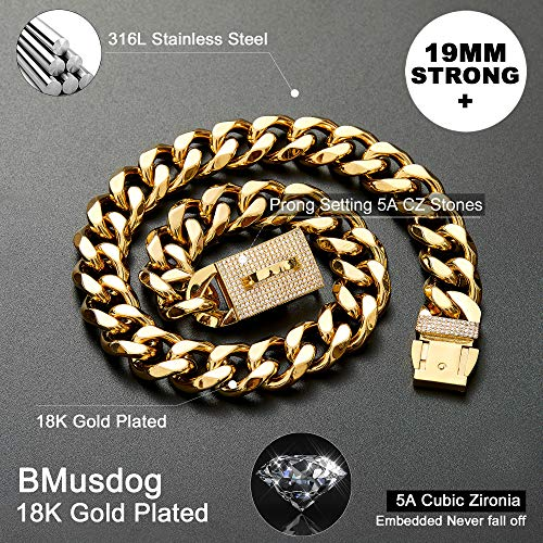 BMusdog Gold Chain Dog Collar with Bling Bling CZ Dimonds 19MM Heavy Duty Thick 18K Gold Cuban Link Chain Stainless Steel Metal Links Walking Training Chain Necklace (26″)