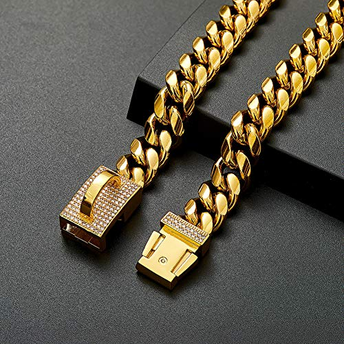 18K Gold Dog Collar Choker Necklace with Diamond Buckle,Strong 304 Stainless Steel Metal Cuban Link Chain Dog Training Choke Collar for Small Medium Large Dogs (24inch, Gold)