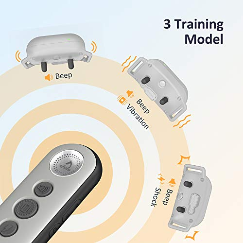 PATPET Small Size Dog Training Collar with 3 Safe Training Modes, Rechargeable IPX7 Waterproof Shock Collar with Remote, 3000 Ft Control Perfect for Dogs(5-100lbs) – Electric Dog Barking Collar