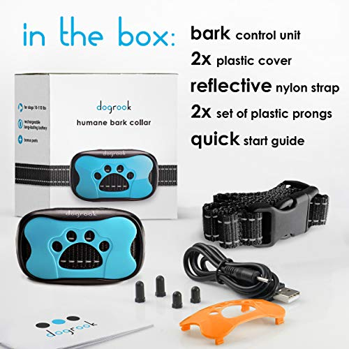 DogRook Rechargeable Dog Bark Collar – Humane, No Shock Barking Collar – w/2 Vibration & Beep Modes – Small, Medium, Large Dogs Breeds – No Harm Training – Automatic Action Without Remote -Adjustable
