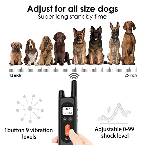 NVK Dog Training Collar – 2 Receiver Rechargeable Collars for Dogs with Remote, 3 Training Modes, Beep, Vibration and Shock, Waterproof Training Collar, 1600Ft Remote Range, Shock Collar for Dogs