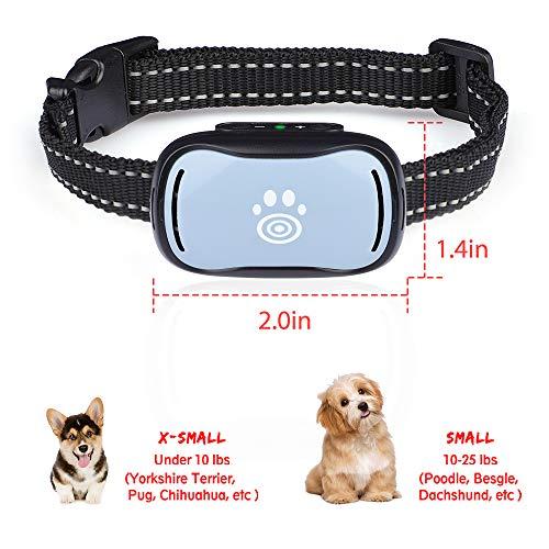 Small Dog Bark Collar, Smallest Anti Barking Collar with Beep, Vibrate, Humane No Shock Bark Collars for Small, Medium Dogs, Pet Training Collars
