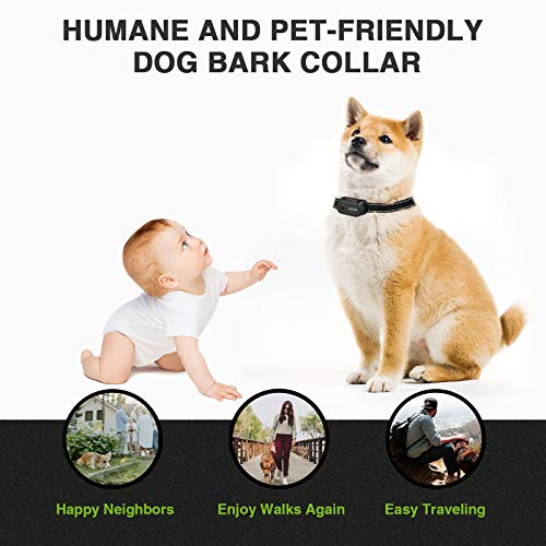 Dog Bark Collar – Rechargeable Bark Collar for Small Medium Large Dogs, Humane Anti Barking Collar with Beep Vibration and Shock