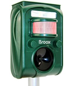 Broox Solar Animal Repeller, Ultrasonic Animal Repellent, Motion Detector, Flashing Light, Dog, Cat Repellent, Squirrel, Raccoon, Skunk, Rabbit, Rat, Mole, Deer
