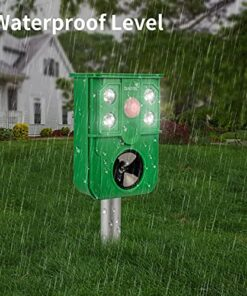 Diaotec Solar Animal Repeller, Outdoor Motion Detector& Flashing Light Rodent Repellant Dog, Cat Repellent, Squirrel, Raccoon, Skunk, Rat, Mole, Deer, Rabbit Deterrent 2 Pack (Dark Green)