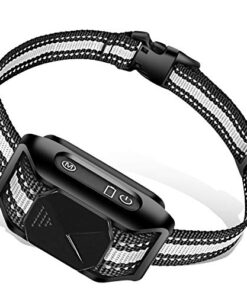 AUGLEY Rechargeable Dog Bark Collar, IP67 Waterproof Smart Anti Barking Training Shock Collar with Progressive Beep and Vibration for Small Medium Large Dogs