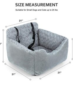 AIPERRO Dog Car Seat Soft Pet Booster for Small Dogs, Puppy Plush Travel Car Carrier Bed, Anti-Slip Dog Cuddler Bed Washable with Side Pocket and Safety Strap