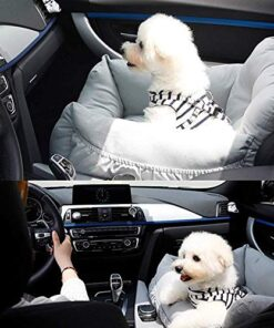 Aidou Dog car seat, Dog Booster seat for Small Medium Large Dogs Cats,pet Travel Booster seat, Dog Safety Car Seat with Storage,Dog car Bed Dual-use for car and Home (midium Grey)